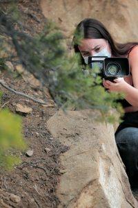 Sona Sherman holding a video camera