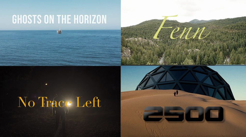 Promotional images for Ghosts on the Horizon, Fenn, No Trace Left and 2500